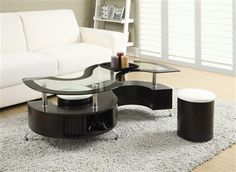 Shop Coaster Furniture Cappuccino Wood Glass Storage Coffee Table Set with great price, The Classy Home Furniture has the best selection of 3 in 1 Pack to choose from S Shaped Coffee Table, Coffee Table And Stool Set, Glass Top Coffee Table, Cool Coffee Tables, Coffee Table With Storage, Modern Coffee Tables, Glass Table, Coaster Furniture, Table Furniture