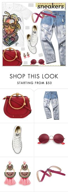 """""""White sneakers"""" by anne-irene ❤ liked on Polyvore featuring Chloé, Converse, Ray-Ban, Elizabeth Cole, converse, allstar, sneakers, chloe and distresseddenim"""