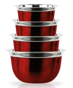 Look at this Micro World Red Stainless Steel Heavy Duty Euro Mixing Bowls Set on today! Kitchen Dinning Room, Red Kitchen, Kitchen Stuff, Kitchen Things, Kitchen Necessities, Kitchen Essentials, Kitchen Words, Red Bowl, Home Storage Solutions