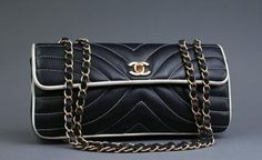 Authentic Chanel Chevron Quilted Lambskin Flap Bag