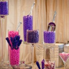 Purple candy at food table for shower
