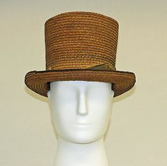 Summer straw top Hat, 1840  Culture: American or European  Dimensions: [no dimensions available] Accession Number: C.I.38.23.210a–c The Metropolitan Museum of Art