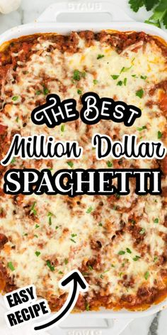 million dollar dip Million Dollar Spaghetti is a tasty, cheese and meat-filled pasta casserole that will feed and fill up a big family or group! This easy casserole is the perfect di Spaghetti Meat Sauce, Spaghetti Casserole, Pasta Casserole, Spaghetti Recipes, Casserole Recipes, Recipe For Million Dollar Spaghetti, Million Dollar Chicken, Spaghetti Pie, Homemade Spaghetti