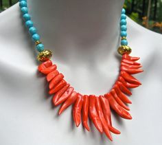 Bib Statement Necklace Sea Coral Branches Blue by PrairieIce