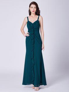 V Neck Evening Dress with Ruffles  9c6337182426