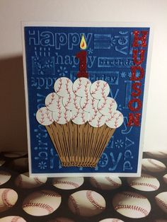 This birthday card is perfect for your little (or big) slugger! Make it an All Star birthday by ordering this handmade baseball cupcake birthday