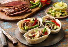 Want to grill dinner tonight, but only have 30 minutes? Try this twist on traditional fajitas using Old El Paso Stand 'N Stuff soft shell tortillas! These Grilled Steak Fajita Boats make eating your Mexican creation easier & more fun! Healthy Grilling Recipes, Grilled Steak Recipes, Beef Recipes, Mexican Food Recipes, Cooking Recipes, Ethnic Recipes, Mexican Entrees, Mexican Tacos, Grilled Food