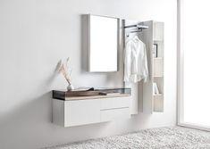 Interior Design Tips, Modern Interior, Interior Architecture, Nordli Ikea, Grey Wallpaper Living Room, Wood Furniture, Furniture Design, Hallway Unit, Small Living Room Layout