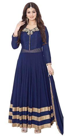 Antique Blue Georgette Salwar Suit.