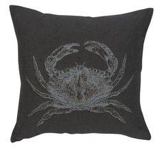 Coussin Oxygène recto crabe & envers uni anthracite 45x45 - Autrement dit