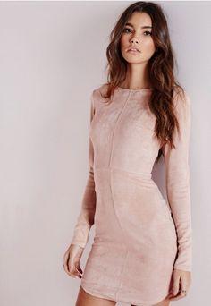Suede Curve Hem Bodycon Dress Camel - Dresses - Bodycon Dresses - Missguided