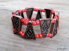 Southwestern Double Strand Copper and Red Beaded Stretch Bracelet by JamieRayCreations https://www.etsy.com/listing/178283196/southwestern-double-strand-copper