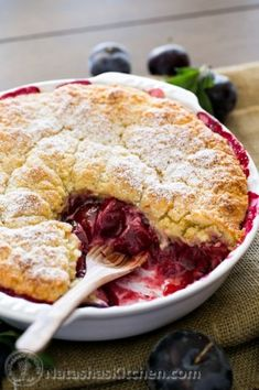 This deep dish plum biscuit pie is easy to assemble, but looks and tastes amazing. The homey biscuit topping is crumbly and hugs the delicious plums below. Plum Recipes, Brunch Recipes, Dessert Recipes, Top Recipes, Quick Recipes, Delicious Recipes, Tasty, Sweet Pie, Sweet Tarts