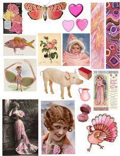 Wonderful free Pink collage sheet: Pink by PaperScraps, via Flickr