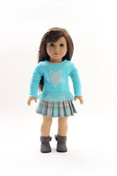 American Girl doll clothes - Back to School: Star studded flounce t-shirt with pleated skirt