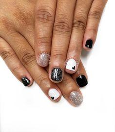Black white and silver nails. Heart nails. #PreciousPhan
