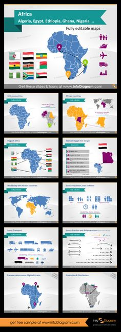 Map of Africa for PowerPoint. Use this template with editable maps to create awesome presentations. You can edit each country, change colour, use pins and data callouts to make infographics or information rich slides. #PowerPoint #theme #template #map #africa