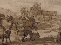 "OSTADE (van) Isaac,1644-49 - Paysage avec Voyageurs (drawing, dessin, disegno-Custodia) - Detail -h - TAGS/ details détail détails detalles ""dessins 17e"" ""17th-century drawings"" ""dessins hollandais"" ""Dutch drawings"" ""Dutch painters"" ""peintres hollandais"" Paris France Holland Hollande animal animaux animals man men hommes paysan dog pet chien Isaack tree trees nature arbres chevaux cheval horse traveller ox boeufs boeuf oxes agriculture countryside campagne landscape Isaack road chemin camino"