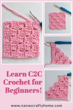 Crochet C2c Pattern, Easy Crochet Stitches, Crochet Stitches For Beginners, Crochet Square Patterns, Crochet Squares, Crochet Basics, Crochet Designs, Beginner Crochet Blankets, Easy Things To Crochet