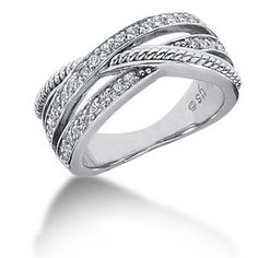 14K Twisted Intersecting Round Brilliant Diamond Anniversary Ring(0.48ctw.) Beautiful And Twisted, Twisted Metal, Diamond Anniversary Rings, Love Ring, 18k Gold, Rings For Men, White Gold, Wedding Rings, Engagement Rings