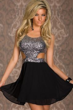 Silver Sequin Cutout Top Skater Dress