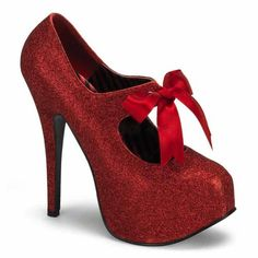 No place like home for big girls ;-) 5 3/4 Glitter Mary Jane Platforms Red Bow Women's Sexy High Heel Concealed Platform Shoes #red #heels - because you're never too old for Mary Janes.