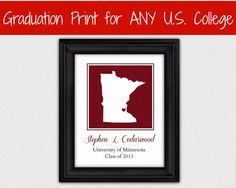College Graduation Gift - Custom University Personalized Gift for Graduate - Grad Student Gift State Silhouette
