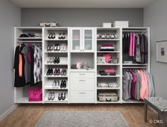 Closet with lots of shoe storage.