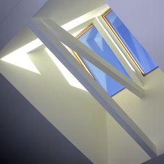 A bold double skylight, cladding the new scissors trusses in drywall and letting the south light bounce around the deep light well. Scissor Truss, Exposed Trusses, Mexican Home Decor, Light Well, Roof Light, House Extensions, Ceiling Design, Cladding, Home Interior Design