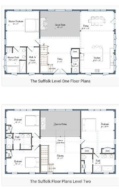30 barndominium floor plans for different purpose - Level Two Floor House Plans