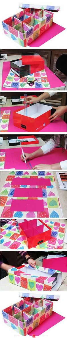 Craft room storage: box with dividers made from shoe box (DIY tutorial) Diy Paper, Paper Crafts, Diy And Crafts, Arts And Crafts, Craft Projects, Projects To Try, Art Diy, Cardboard Crafts, Cardboard Boxes