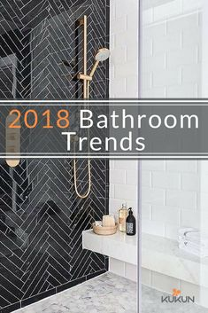 Looking for awesome 2019 bathroom trends? White Herringbone Tile, White Tiles, Herringbone Pattern, Bathroom Layout, Modern Bathroom Design, Bathroom Goals, Bathroom Designs, Bathroom Trends, Bathroom Ideas