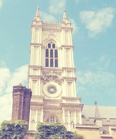 The impressive bell tower from Westminster Abbey in London.