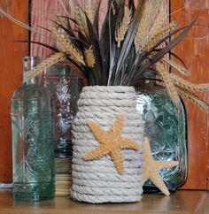 DIY - Spaghetti Jar to Beachy Vase