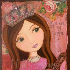 whimsical princess paintings images | Princess Wall Art Print Mixed Media Whimsical Folk Art Pink Roses ...