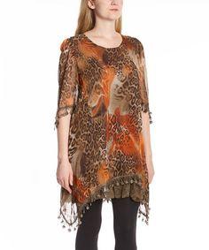This Orange & Ecru Leopard Silk-Blend Top is perfect! #zulilyfinds