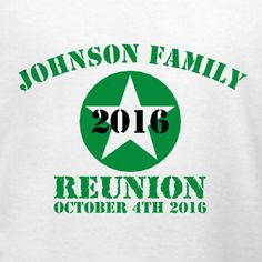 Military themed family reunion t-shirt template. Customize this for your family reunion in our design studio. Choose from tons of apparel options and sizes from the tiniest tots to plus sizes. We offer free 10-day shipping in the U.S.!