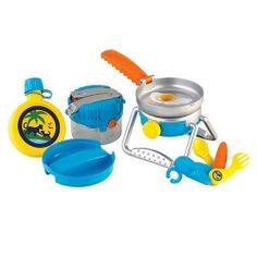 Let's Just Nick Go, Diego, Go! 5-in-1 Camp and Rescue Set by Fisher Price. $18.99. Includes a camp light (or smaller lantern), cook stove, frying pan, plastic food, plate, a canteen (that holds water) and a 3-in-1 utility tool. The lantern can then disassemble into a 6-pc. play camping kit. Pretend you are camping in the jungle with Diego and this cute camp kit. Assembled as a lantern, you can easily switch the light on and push a button to hear nighttime jungle soun...