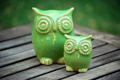 spring green handmade ceramic owl and owlet - father and child $45