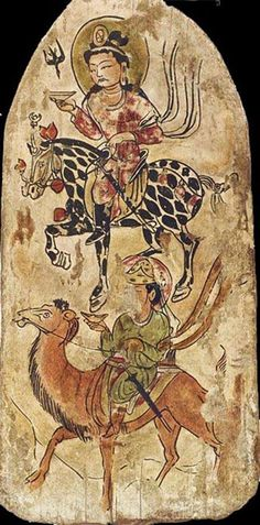 A horesman holding a bowl and a camel rider holding a bold. An admisxture of Chines, Turkic and Persian elements. Dandan Uiliq. Noth of Ancient Khotan