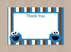 Cookie Monster Thank You Card by Honeyprint on Etsy, $7.50 Cookie Monster Party, Party Themes, Party Ideas, Milk Cookies, Toy Chest, Thank You Cards, Birthday Ideas, Handmade Gifts, Frame