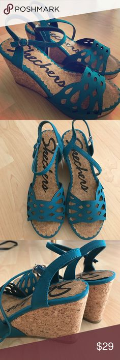 NEW Sketchers Teal Platform Cork Wedges Sandals 7 New in Box, Deep Teal, cushioned comfortable footbed! 4 inch Wedge heels, get them for a steal for your next vaycay! Skechers Shoes Wedges