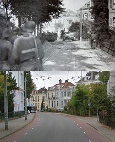 German units advance cautiously along Utrechtseweg, Arnhem, the Netherlands, in September 1944, during the Allies ill-fated Operation Market Garden.and the same street in present days