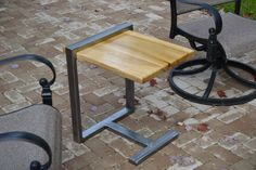 Mark project - Modern Metal and Wood Side Table by PritchardFurniture on Etsy, $160.00