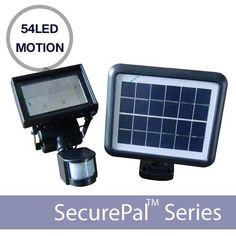 The 54LED motion sensor solar security light features a 30 ft range, is 6-10 times brighter than similar incandescent lights and requires $0 electric charge