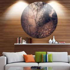 Designart 'Vintage Style Leaves and Trees' Landscape Photo Disc Metal Wall art