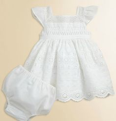 Ralph Lauren Layette's Eyelet Embroidered Dress & Bloomers Set in White (0406553554357)