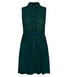 Tenki Green Collar Lace Chiffon Dress
