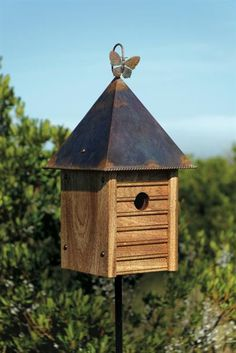 Heartwood Homestead Bird House, Solid Mahogany With Copper Roof Bird House Plans, Bird House Kits, Wooden Bird Houses, Birdhouse Designs, Birdhouse Ideas, Copper Roof, Bird Aviary, Diy Bird Feeder, Bird Feeder Plans