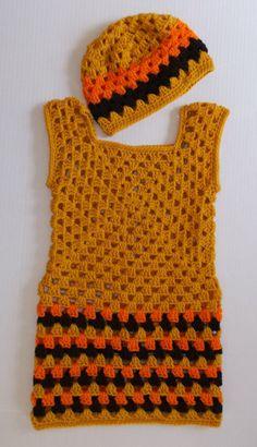 Gold Multi Crochet Girls Dress by KDsKidsCrochet on Etsy, $40.00